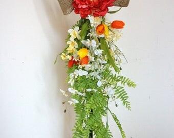 Spring Door Swag, Summer Door Wreath, Teardrop Storm Door Peony Orchids Tulips Wreath Ready to Ship