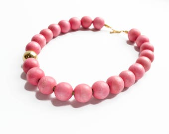 Pink Statement Necklace, Pink Necklace, Bubble necklace, Wood Bead Necklace, Wooden Bead Necklace, Wooden Jewelry, Chunky Wood Necklace
