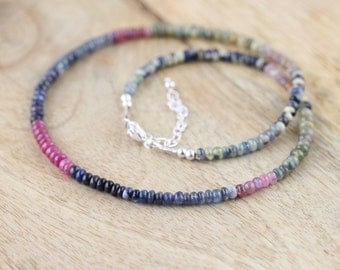 Ombre Sapphire Necklace in Sterling Silver or Gold Filled. Beaded Choker. Precious Gemstone Layering Necklace. Hippie Boho Bohemien Jewelry