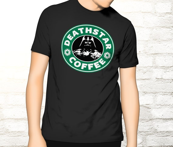Star Wars / Starbucks Coffee - Mash up Tee - Deathstarbucks Tee - Deathstarbucks T-shirt