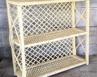 Wicker Shelving Unit Wicker Shelf Cottage Chic Shelving Wicker Wall Mount Shelf Standing Shelf Double Shelf White Shelf Unit Mid Century