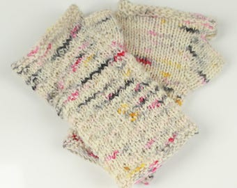 Speckled Handknitted Wrist-warmers / half mittens Size S-M