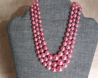 Pink Pearl triple strand vintage necklace