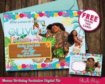 Moana Invitation, Vaiana Invitation, Printable Moana Invitation, Digital File, Birthday Party - Customized Vaiana Invitation