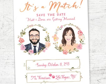 "Custom Illustrated Tinder Save the Date A7 Size (5x7"") - Digital Download"