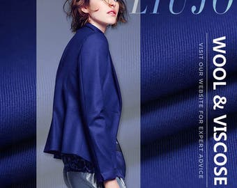 150CM Wide 330G/M Weight Blue Solid Color Thin Wool Fabric for Autumn and Winter Dress Overcoat E314