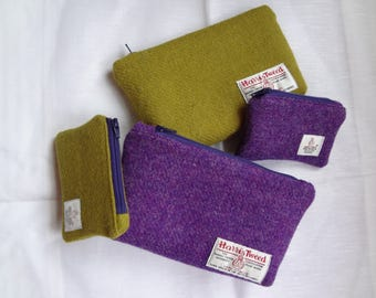 Harris Tweed clutch bag, cosmetic bag, purse