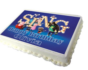 Sing Movie 2017 A4 Birthday Cake Topper with Any Name