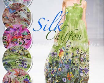 Green Silk Chiffon by the yard Butterfly fabric