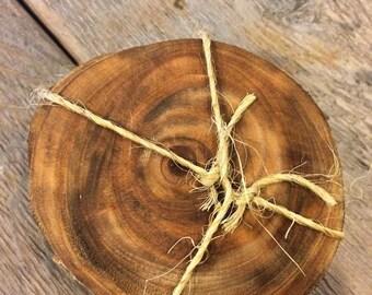 Reclaimed wood drink coasters, set of 4