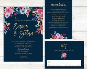 Spring Wedding Invitation, Floral Wedding Invitation, Navy Gold Wedding Suite, Summer Wedding Invite