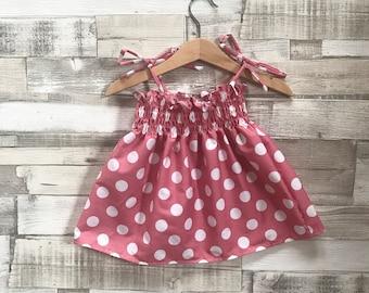 Pink Polka Dot Dress | Pink Baby Dress | Baby Girls Dress | Pink and White Polka Dots | Shirred Dress | Smocked Dress | Baby Summer Dress