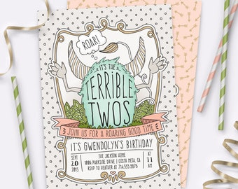 Terrible Twos Birthday Invitation Set – GIRL – Printable Invitation and Thank You Card by Squawk Box Studio