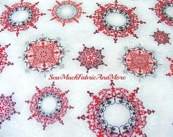 Robert Kaufman's Winter Grandeur~Red & Grey Medallion Design Christmas Ornaments Fabric~By The yd~Holiday~Design 15886