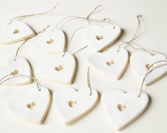 Guest Favors, Set of 10,  Wedding Favors, Favor Clay Gift,  Wedding Ornament, Wedding Day Decor,  White Heart, Hanging Ornament