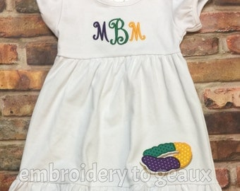 Personalized Girl's Mardi Gras King Cake Ruffle Dress, Girls Mardi Gras Dress, Toddler Girls Mardi Gras, Girls King Cake Dress, Mardi Gras