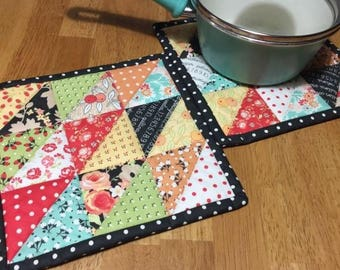 Quilted Hot Pads/Pot Holders/Mini Quilts/Candle Mats/Insulated Trivets/Set of Two