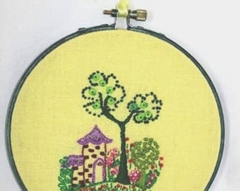 Embroidery small house, Little house, landscape, Embroidery, 5 1/4 inches-14 cm, CE07