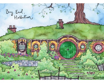 BAG END HOBBITON Print 8x12 Ink and Watercolor Painting