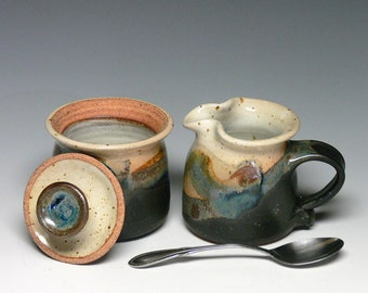 Pottery Sugar and Creamer Set