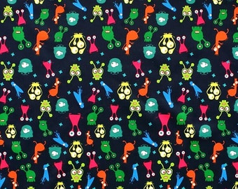 Aliens PUL Fabric, Polyurethane Laminate Patterned Waterproof Fabric, FQ Fat Quarter Half Full Metre