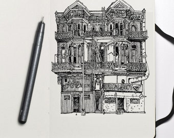 Custom house drawing. Custom architectural pen and ink sketch. Architectural illustration. Wall art. First home drawing. Draw my house.