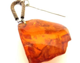 Amber Baltic Brooch Pin Vintage Genuine 6.11 Gr Honey Cognac Stone