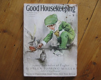 "Vintage ""Good Housekeeping"" Magazine October, 1934, Complete, Cover by Horace C Gaffron"