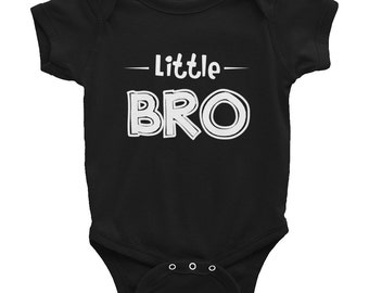 Little bro - Baby Onesie Bodysuit, American Apparel Infant Baby Rib Short Sleeve One-Piece