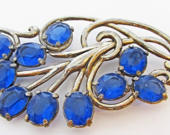 Lovely Vintage 1920s Art Nouveau Style Blue Rhinestone Floral Pin
