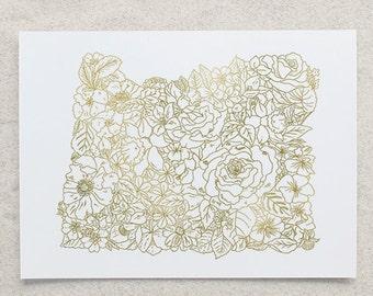 Botanical Oregon Foil Print