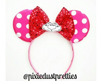 Valentine Mouse ears, Minnie ears, pink munnie, mouse ears, valentine's, polka dot mouse ears, minnie, Minnie mouse