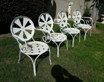 Heavy Wrought Iron Windmill Orange Slice Armchairs