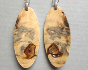 Beautiful Maple Wood Large Earrings surgical steel hypo allergenic hand made ExoticWoodJewelryAnd