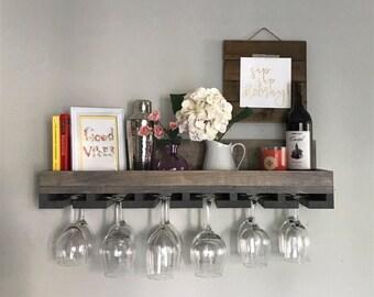 "30"" Rustic Wood Wine Rack   Shelf & Hanging Stemware Glass Holder Organizer Bar Unique Baking Containers, Spice Rack, Kitchen Accessories Gr"