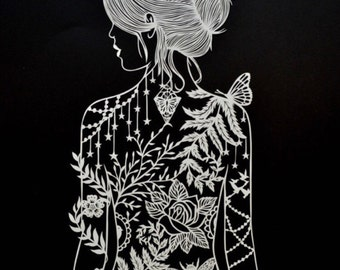Tattooed Woman - Papercut - art - print