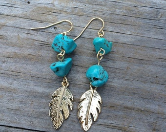 Gold Feather Howlite Turquoise earrings, Turquoise earrings, Feather earrings, Dangle earrings, Gifts for her, Stocking Stuffer