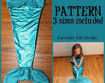PDF - TUTORIAL - PATTERN -Mermaid Tail Blanket - Fleece - Sewing Pattern - 3 different sizes - Sequins & Scales