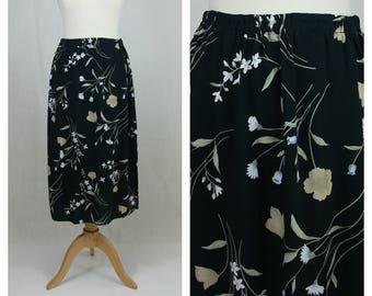90s vintage skirt. Midi skirt. Maxi skirt. Black skirte. Floral print skirt. Spring summer skirt. Beach skirt. Size M - L.