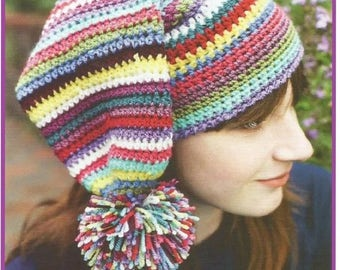 Instant Download - PDF-  A lovely Stripey Pom Pom Hat Crochet Pattern (CA18)