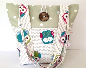 Tote Bag, Owls & Green Dotty Tote Bag, Small Tote Bag, Small Lunch Bag, Fold Up Bag, Shoulder Bag, Gift for Her, Cute Owls, Dotty Bag