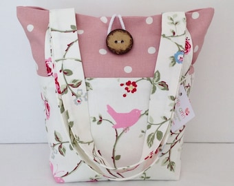 Bird Trail & Pink Dotty Tote Bag, Small Lunch Bag, Small Tote Bag