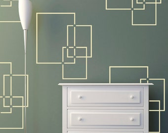 Overlapping Squares Wall Stencil  Pattern Stencil, in reusable Mylar