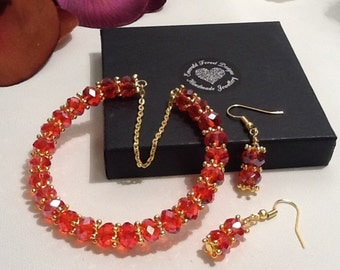 Red Crystal & Gold Snowflake Cuff Keepsake Bracelet with Matching Earrings Handmade by Emerald Forest Designs