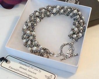 Winter Ice Pewter Grey Beaded Bracelet Handmade by Emerald Forest Designs