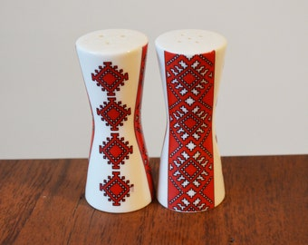 Vintage Ukrainian Red and White Salt & Pepper Shakers - Porcelain with rubber stoppers, Traditional Folk Art Pattern