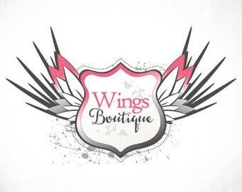 Premade Logo Design • Wings Grunge Shield
