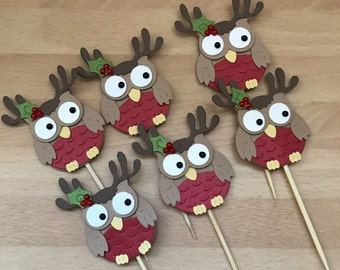 Owl Cupcake Toppers, Christmas Cupcake Toppers, christmas decor, cupcake toppers