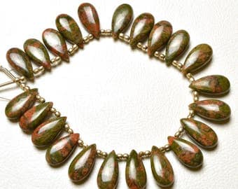 Full stand Natural Gem Stone UNAKITE Smooth PEAR Shape Beads  Briolettes 15X7 mm size 7 inch