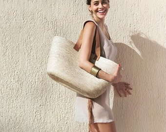 Beautiful Hand Woven Farmers Market Bag with Leather Handle - Perfect for your paradise getaway!